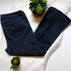 Torrid Dark Wash Mid-Rise Flare Flap Pocket Jeans